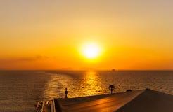 Beautiful sunset from cruise ship Royalty Free Stock Photo