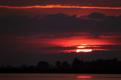 Beautiful sunset. In the Danube Delta Royalty Free Stock Photography