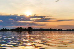 Beautiful sunset in Danube Delta Royalty Free Stock Photo