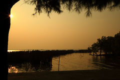 Beautiful  sunset. At Donhoilod sea of Thailand Royalty Free Stock Images