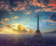 Beautiful sunset and dramatic sky above the Paris, France Stock Image