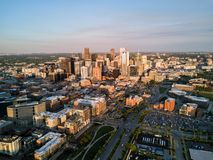 Beautiful sunset drone photo of Denver Colorado. royalty free stock photography