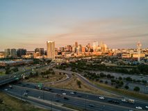 Beautiful sunset drone photo of Denver Colorado. stock images