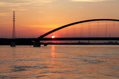 Beautiful sunset in Duisburg Stock Photography