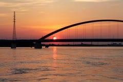 Beautiful sunset in Duisburg. Bridge across the river at beautiful sunset in Duisburg Stock Photography