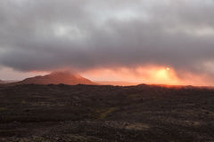 Beautiful sunset in empty lava field in Iceland. Stock Photos