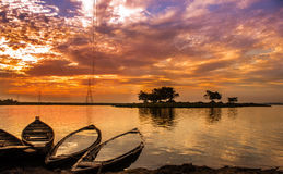 A beautiful sunset. End of a day. A beautiful sunset near Deepor Beel (Guwahati, Assam, India, Asia royalty free stock images