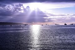 The beautiful sunset at the English bay Vancouver. royalty free stock images