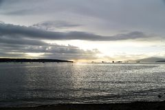 The beautiful sunset at the English bay Vancouver. stock photography