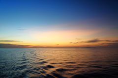 Beautiful sunset at the equator. View from ferry Stock Photography