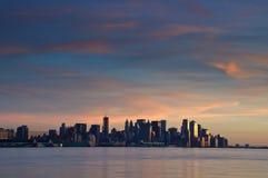 Beautiful sunset evening over new york city. Photo beautiful sunset evening over new york city Royalty Free Stock Photos