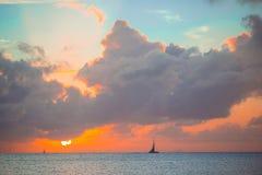 Beautiful sunset on an exotic caribbean beach. Amazing beautiful sunset on an exotic caribbean beach Stock Photography