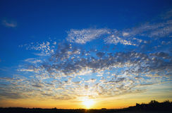 Beautiful sunset with feather clouds. Stock Image
