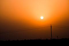 Beautiful Sunset. A beautiful sunset in field stock photography