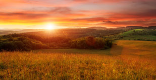 Beautiful sunset on the field - in shades of orange Royalty Free Stock Photography