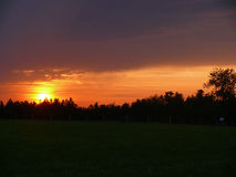 Beautiful sunset at  the field Royalty Free Stock Photo