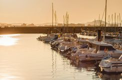 Beautiful sunset from a fishing village. Laredo, Cantabria, Spain stock photography