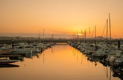 Beautiful sunset from a fishing village. Laredo, Cantabria, Spain stock images