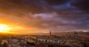 A beautiful sunset in Florence, Italy royalty free stock images