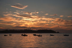 Beautiful sunset at French coast Royalty Free Stock Image