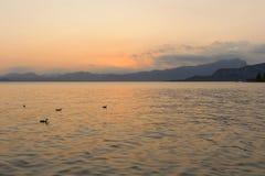 Beautiful sunset at Garda lake, Italy Stock Photo