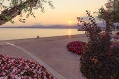 Beautiful sunset at Garda lake, Italy Stock Photos