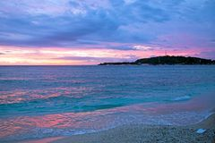 Beautiful sunset at Gili Meno beach in Indonesia Royalty Free Stock Images