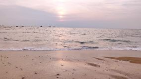 Beautiful sunset at Goa beach 4K,Goa to beautiful sunset above the Arabian sea. Sun reflection on sea surface. Beautiful sunset at Goa beach,Goa to beautiful stock footage
