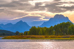 Beautiful Sunset at Grant Tetons Stock Images