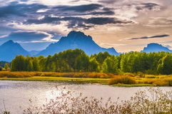 Beautiful Sunset at Grant Tetons Royalty Free Stock Photography