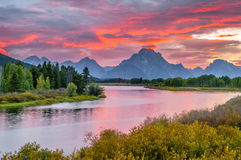 Beautiful Sunset at Grant Tetons. Amazing Sunset over Grand Tetons taken from the Oxbow Bend Turnout Royalty Free Stock Images