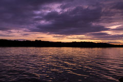 Beautiful sunset on the Guayas River in Guayaquil Stock Photo