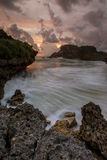 Beautiful sunset at Gunungkidul, Yogyakarta, Indonesia. Amazing sunset at Gunungkidul with nice  texture of rock Royalty Free Stock Images