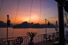 Beautiful sunset on Ha Long Bay, Vietnam Royalty Free Stock Photography