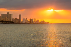 Beautiful sunset in Havana. With reflections on the ocean Royalty Free Stock Photo