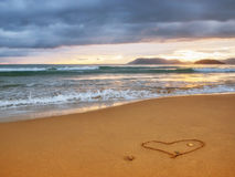 Beautiful sunset and heart Royalty Free Stock Images