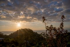 Beautiful sunset in Costa Rica. Beautiful sunset from High on a Hill  in Costa Rica Royalty Free Stock Photo