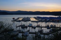 Sunset over the Dock in Coeur D`Alene stock photos