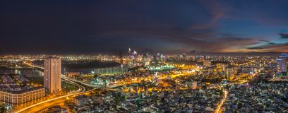 Beautiful sunset of Ho Chi Minh city skyline. Royalty high quality free stock image aerial view of Ho Chi Minh city, Vietnam. Beauty skyscrapers along river Stock Image
