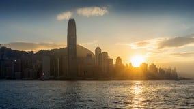 Beautiful sunset at Hong Kong stock images