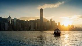 Beautiful sunset at Hong Kong stock photo