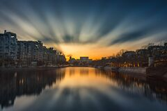 Beautiful Sunset In Bucharest Stock Photos