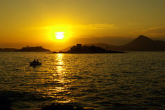 Beautiful Sunset In Montegro Seaside With Boat Stock Photo