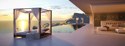 Beautiful sunset at the infinity pool. 3d rendering Stock Image