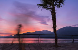 Beautiful sunset at Iseo lake, Lombardy, Italy Stock Photography