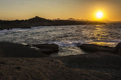 Beautiful sunset at the island of Milos. Royalty Free Stock Photos