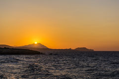 Beautiful sunset at the island of Milos. Royalty Free Stock Photography