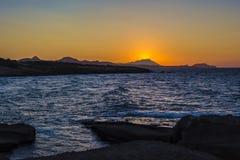 Beautiful sunset at the island of Milos. Royalty Free Stock Photo