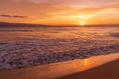 Sunset on Kaanapali Beach Maui. A beautiful sunset on Kaanapali beach Maui stock photography