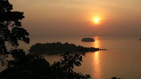 Beautiful sunset on the Koh Chang island. Thailand stock video